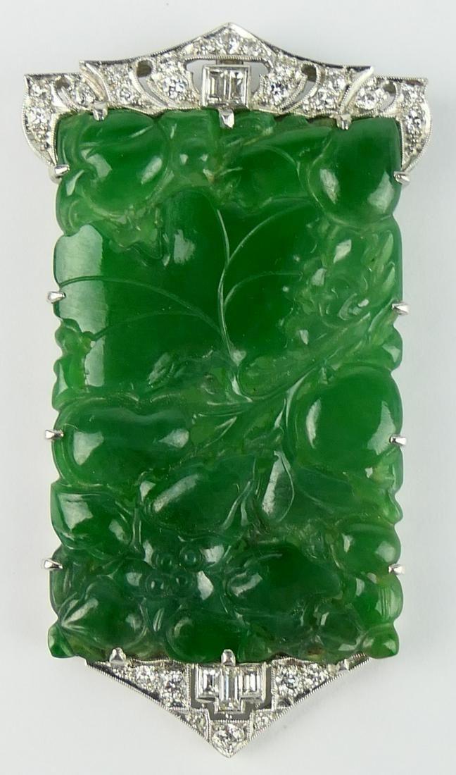 CHINESE NATURAL JADEITE PLATINUM W/DIAMOND PENDANT