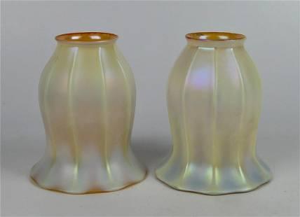 """(2) SIGNED QUEZAL IRIDECENT ART GLASS 5"""" SHADES"""