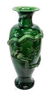 "LARGE CHINESE GREEN PORCELAIN 36"" DRAGON VASE"