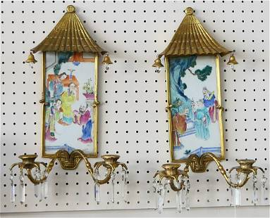 """CHINESE PAGODA 19"""" SCONCES W/ PORCELAIN PLAQUES"""