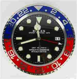 CONTEMPORARY ROLEX GMT MASTER II DEALER CLOCK