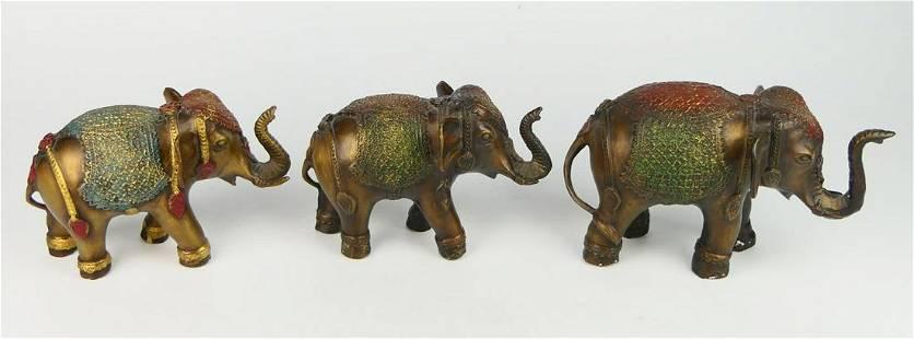 (3) SMALL BRONZE TIBETAN ELEPHANTS FIGURES