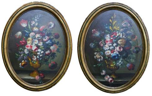 ILLEGIBLY SIGNED PAIR OF OVAL OIL ON CANVAS