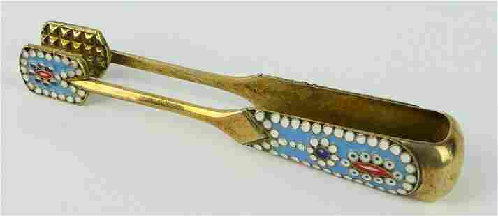 RUSSIAN GOLD WASH 916 SILVER ENAMELED TONGS