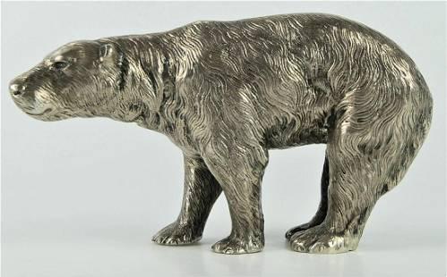 """STERLING SILVER CAST BEAR 6"""" FIGURE"""