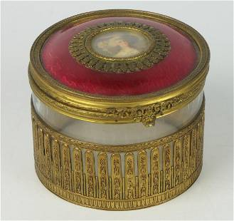 ANTIQUE LARGE GUILLOCHE PORTRAIT DRESSER JAR