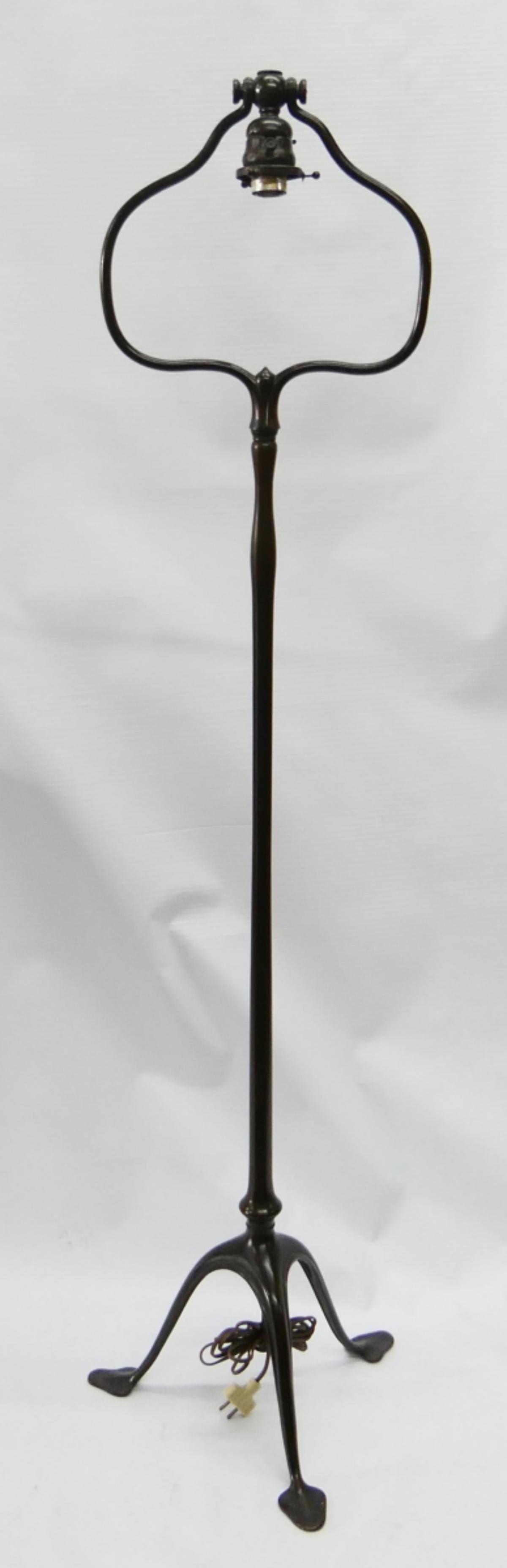 "ORIGINAL TIFFANY STUDIOS BRONZE 55"" FLOOR LAMP"