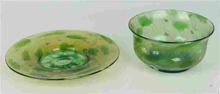 LOUIS COMFORT TIFFANY GLASS WATER BOWL W/ SAUCER