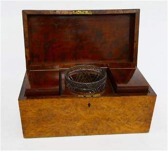 ANTIQUE BURLED WOODEN ENGLISH TEA CADDY