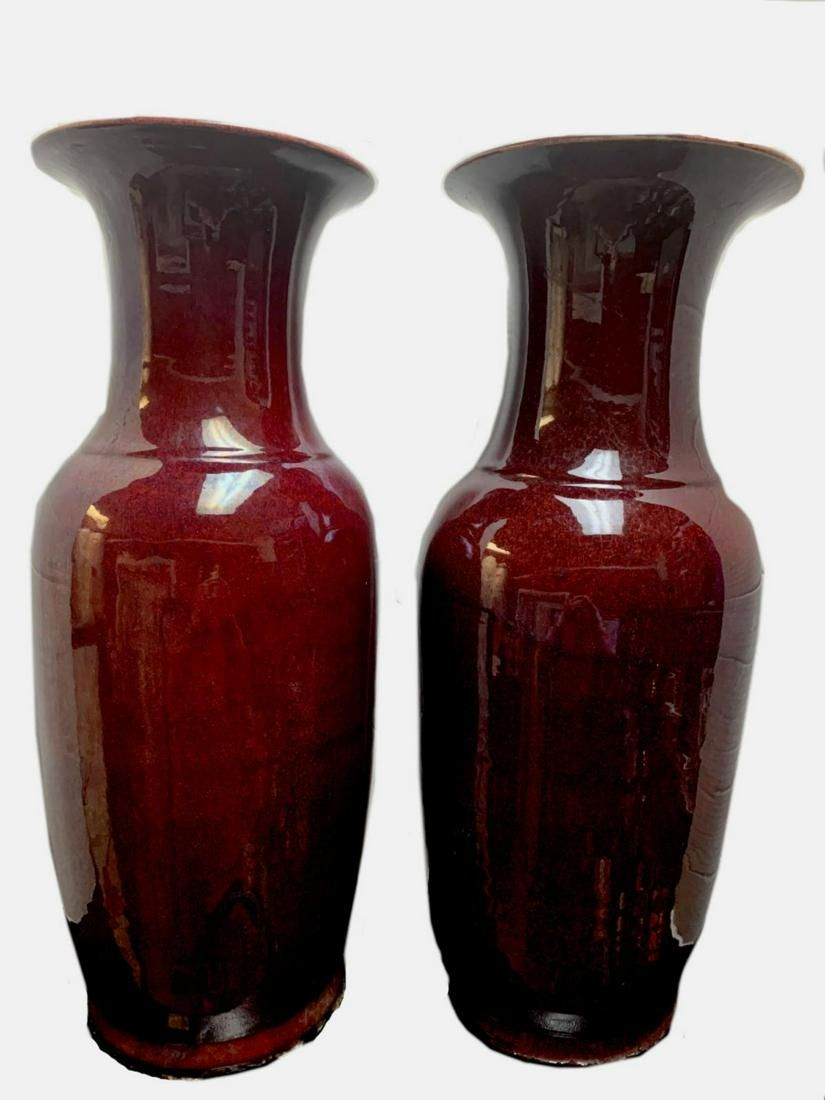 """PAIR CHINESE PORCELAIN 24"""" OX BLOOD RED VASES"""