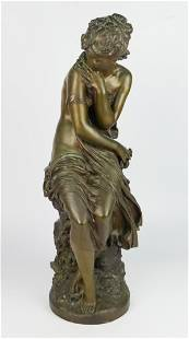 ANTIQUE BRONZE GIRL SEATED BY MATHHURIN MOREAU