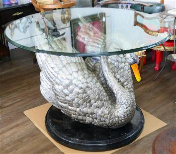 LARGE POLYCHROME BRONZE SWAN TABLE