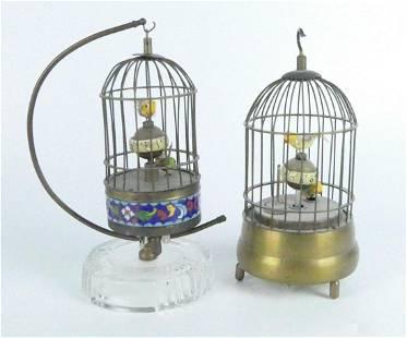 2 RARE VINTAGE BIRD CAGE CLOCKS