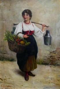 RODOLPHO AGRESTI 19TH C. ITALIAN O/C GIRL/ JUGS