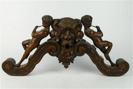 ANTIQUE GOTHIC ARCHITECTURAL WOOD CARVING