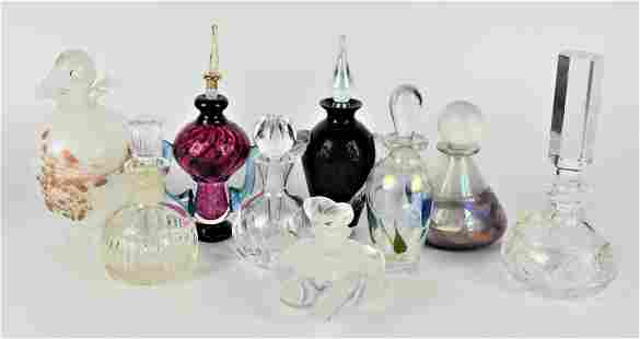 9 pc HIGH END SIGNED GLASS PERFUME BOTTLE LOT