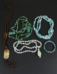 LOT OF CHINESE BEADED ITEMS JADE TIGER'S EYE ++