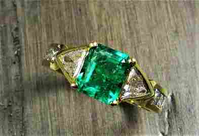 Genuine Emerald & Diamond Ring