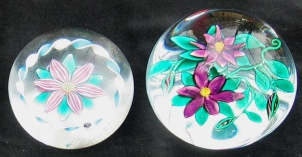 13X: Lot of (2) blown glass floral paperweights.