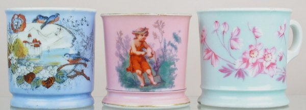 18X: Lot of (3) shaving mugs with lovely decoration.