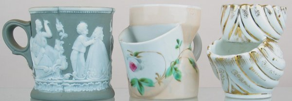 19X: Lot of (3) shaving mugs with decoration.