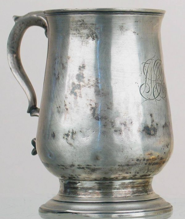21X: Sterling silver tankard with a monogram