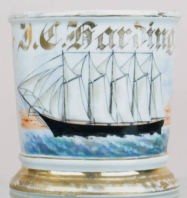 22X: Shaving mug with a 5 masted clipper ship