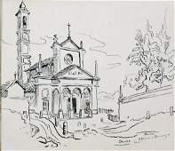 Thomas Hart Benton pen and ink drawing of church