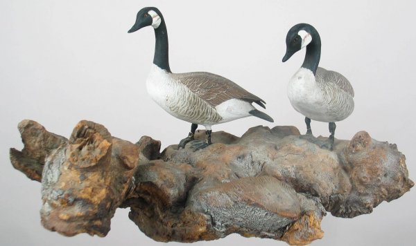 446: STUNNING pair of minia-ture geese ca early to mid