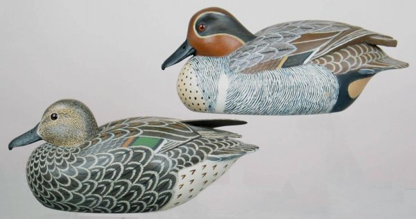 680: Great hollow pair of green winged teal decoys in X