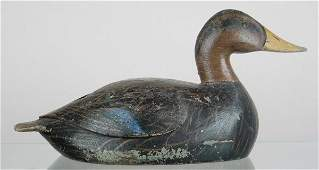 838: Black duck decoy ca early 1900's, with carved wing