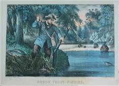 543E: Currier and Ives Orig Lithograph of Fish