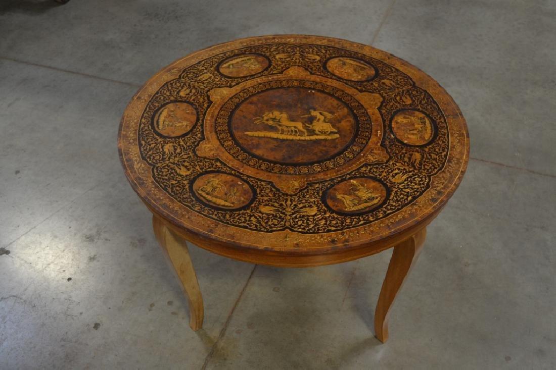 ROUND INLAID ROMAN SCENE COFFEE TABLE