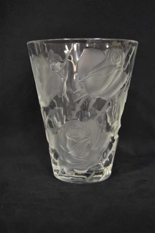 Lalique Rose Pattern Vase