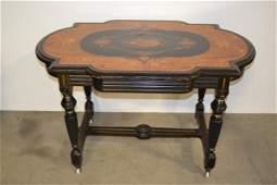 19TH C. VICTORIAN INLAID EBONIZED PARLOR TABLE