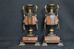 PAIR 19TH C. EGYPTIAN REVIVIAL MARBLE MANTLE URNS