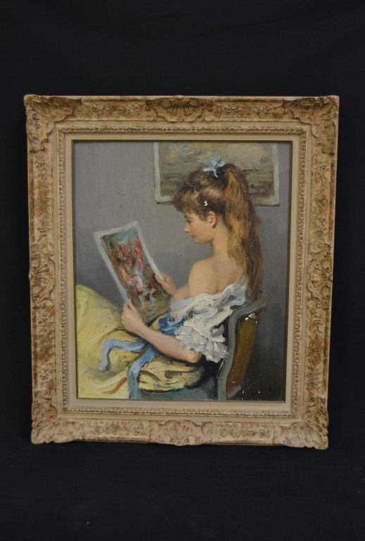 """MARCEL DYF """"YOUNG GIRL WITH A PRINT"""" O/C"""