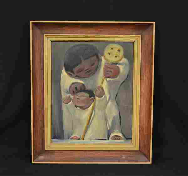 """JEAN CHARLOT """"THE STAFF"""" OIL ON CANVAS"""