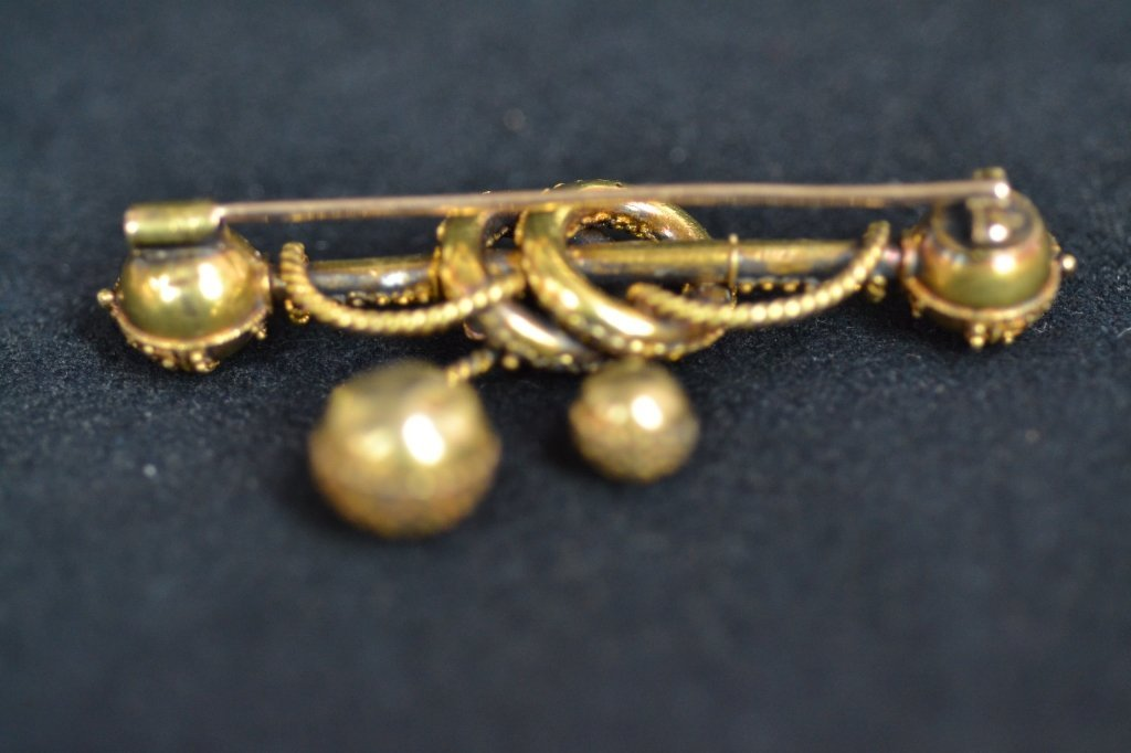 ANTIQUE FANCY 14KT GOLD PIN - 2