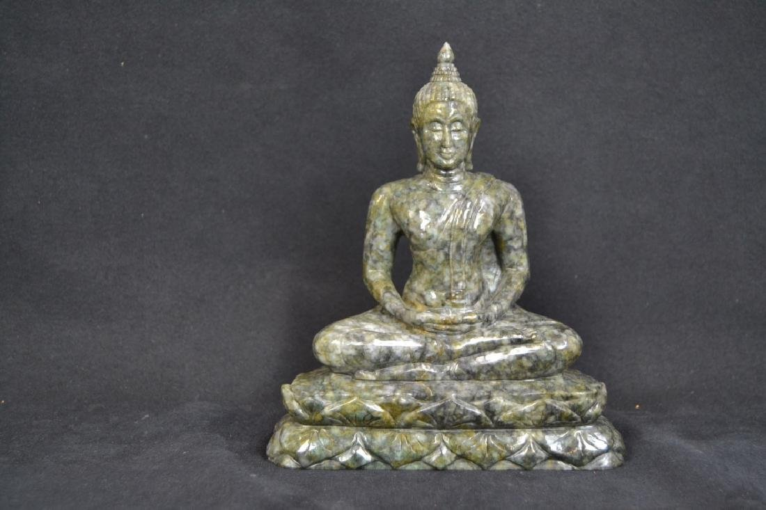 GREEN CARVED STONE BUDDHA STATUE