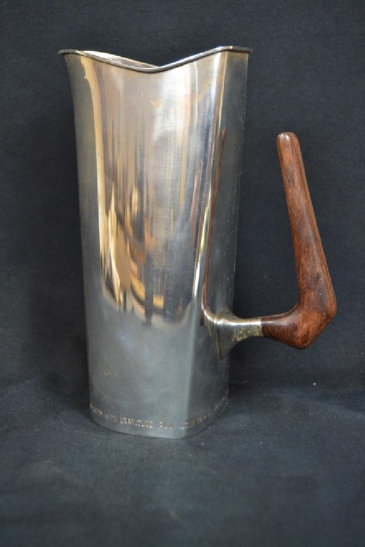 ART DECO STERLING PITCHER WITH WOODEN HANDLE