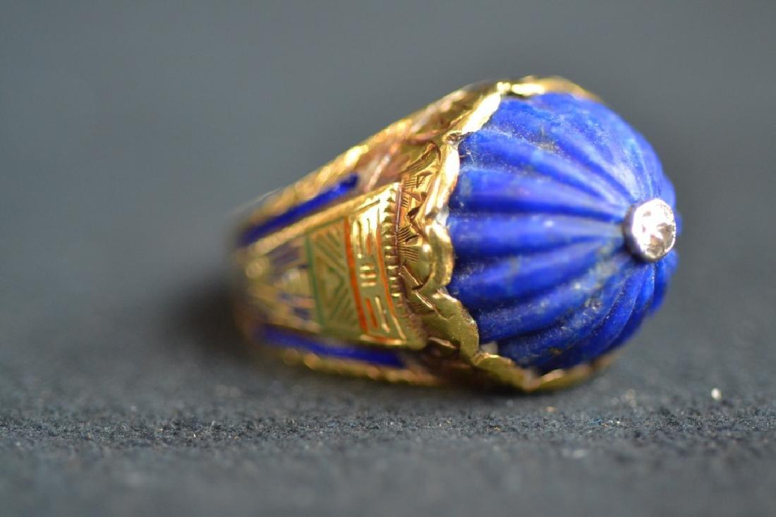 14 KT YELLOW GOLD & BLUE LAPIS RING