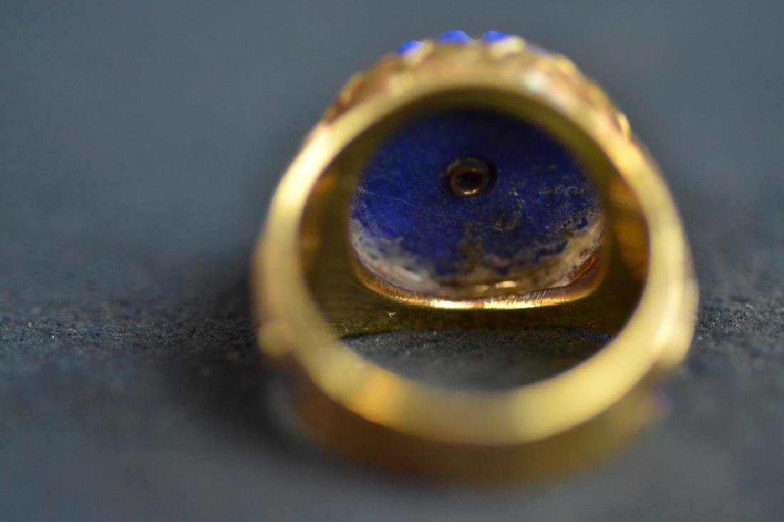 14 KT YELLOW GOLD & BLUE LAPIS RING - 2