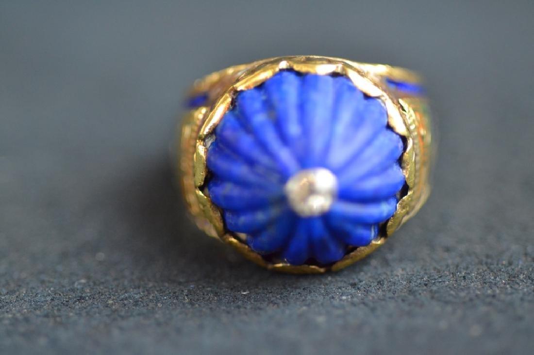 14 KT YELLOW GOLD & BLUE LAPIS RING - 3