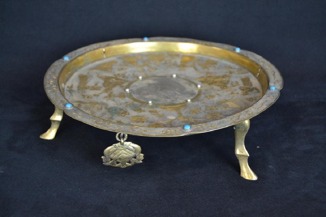 METAL FOOTED CHINESE TRAY W/ MOUNTED STONES