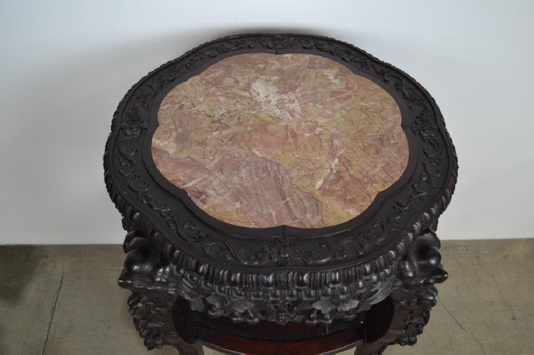 ANTIQUE HIGHLY CARVED CHINESE MARBLE TOP TABLE - 3