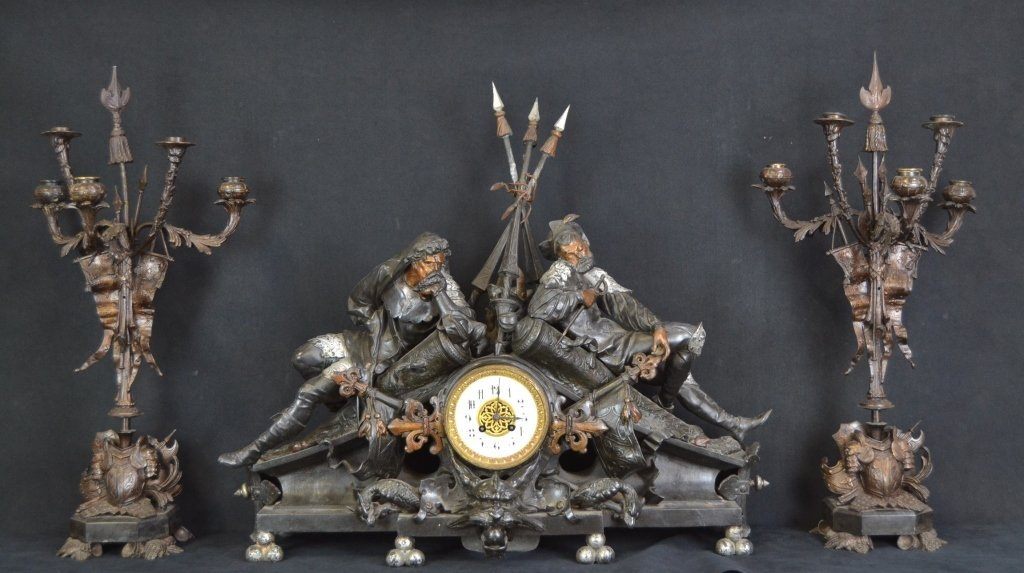 3 PC. FRENCH JAPY FRERES A. POITEVIN CLOCK SET