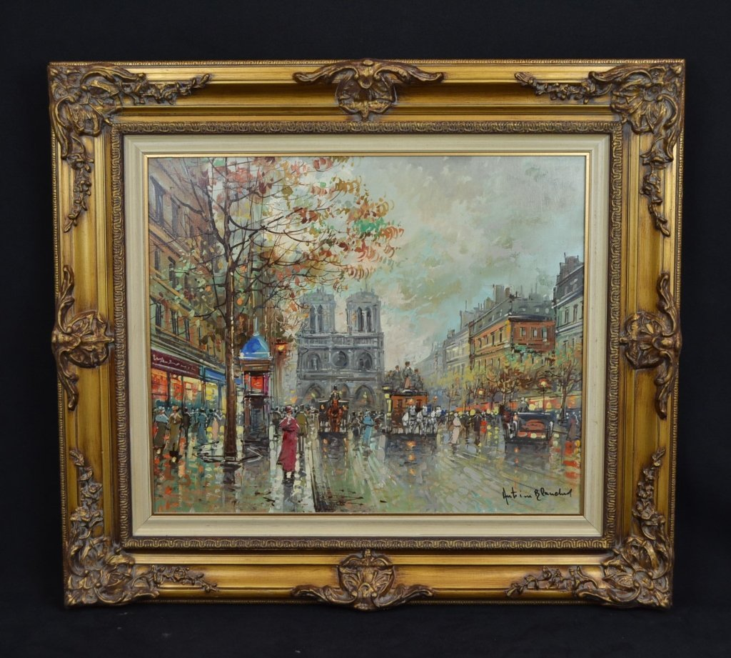 ATTRIBUTED TO ANTOIN BLANCHARD STREET SCENE O/C