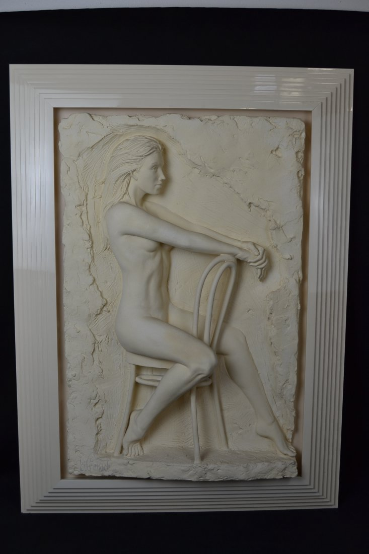 "SIGNED BILL MACK ""SOLITUDE"" BONDED SAND SCULPTURE"
