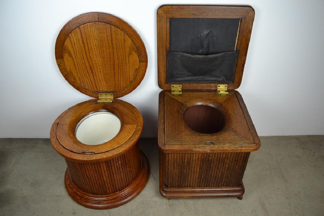 2 ANTIQUE AMERICAN OAK POTTY SEATS OR COMMODES